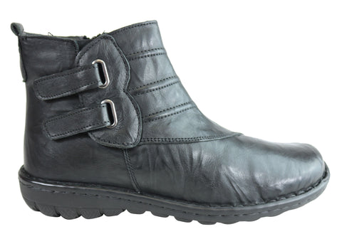 Cabello Comfort CP348-32 Leather Womens Ankle Boots Made In Turkey