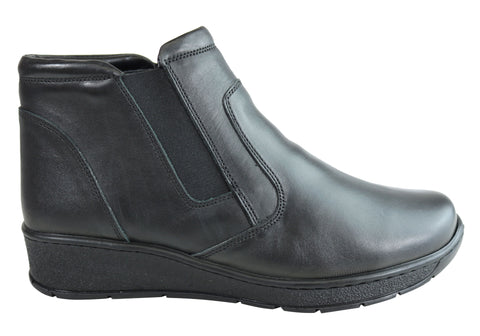 Cabello Comfort CP224-33 Leather Womens Ankle Boots Made In Turkey
