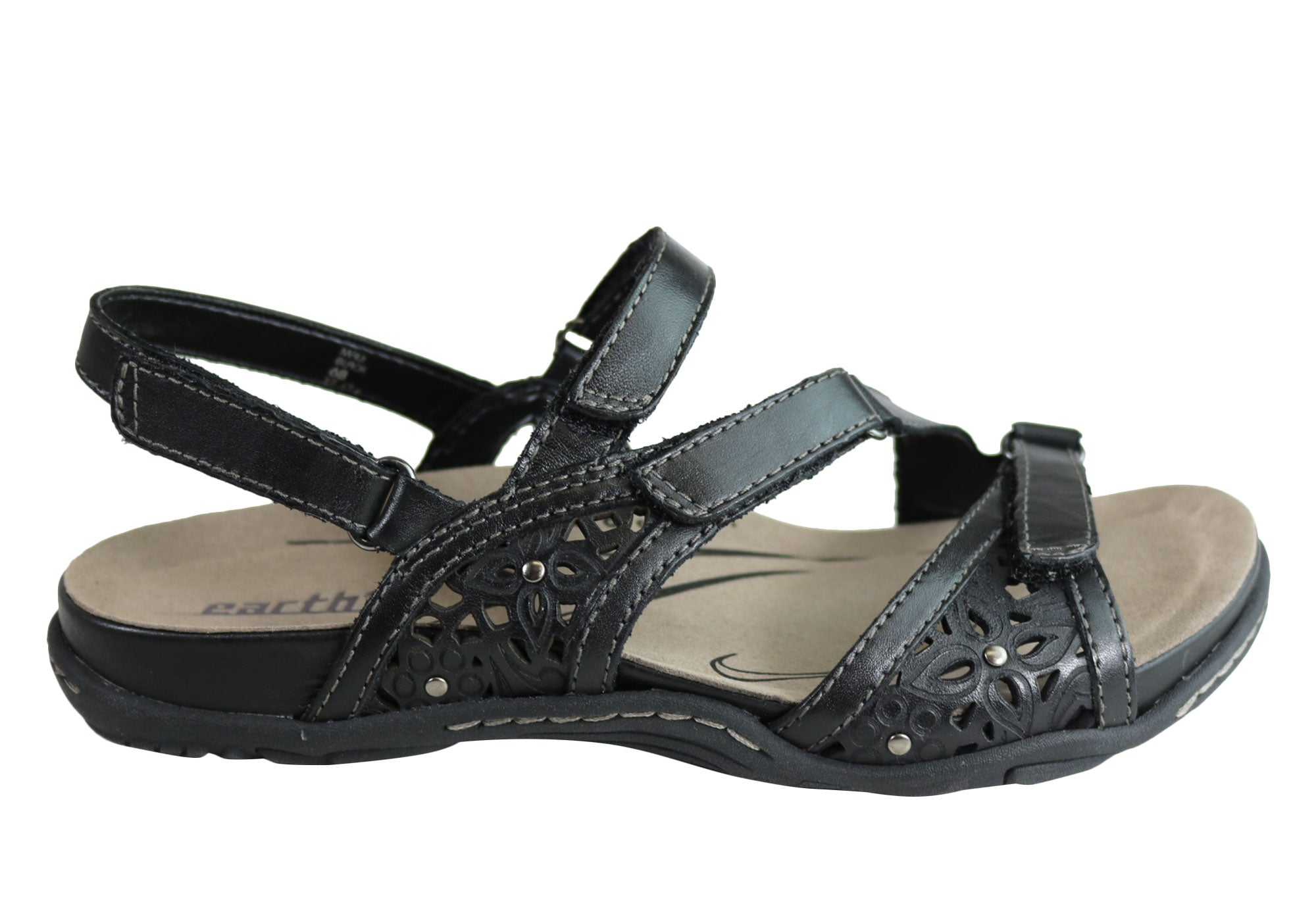 ffd894b303cd0a Home Earth Maui Womens Comfortable Supportive Flat Leather Sandals. Black ·  Sand ...