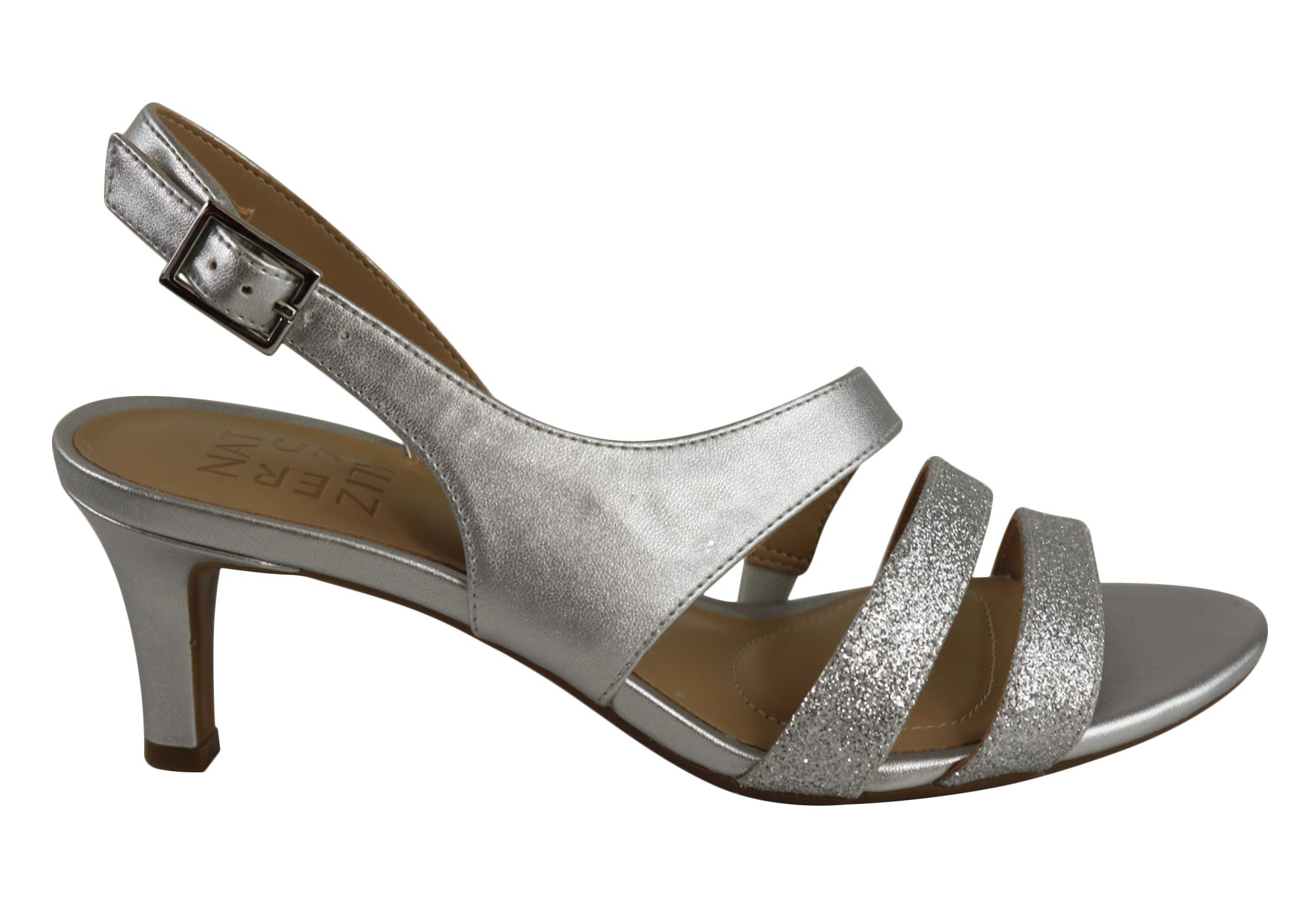92c89406214 Home Naturalizer Taimi Womens Comfort Wide Fit Mid Heel Dress Sandals.  Black  Silver ...