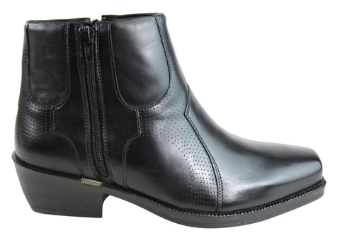 Ferracini Stefan Mens Brazilian Leather Square Toe Cuban Heeled Boots