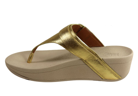 Fitflop Womens Comfortable Leather Edit Artisan Gold Thongs