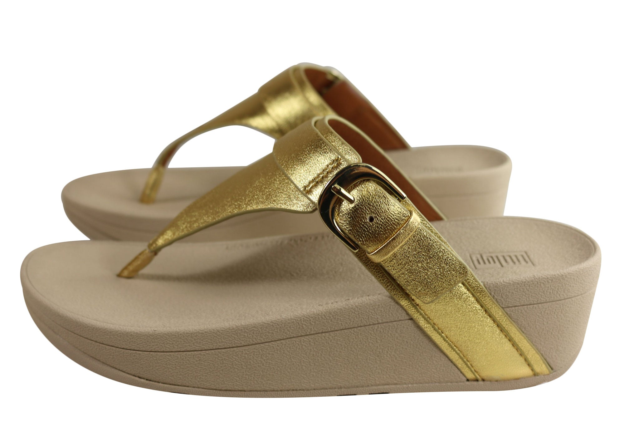 Fitflop Womens Comfortable Leather Edit Artisan Gold Thongs Sandals