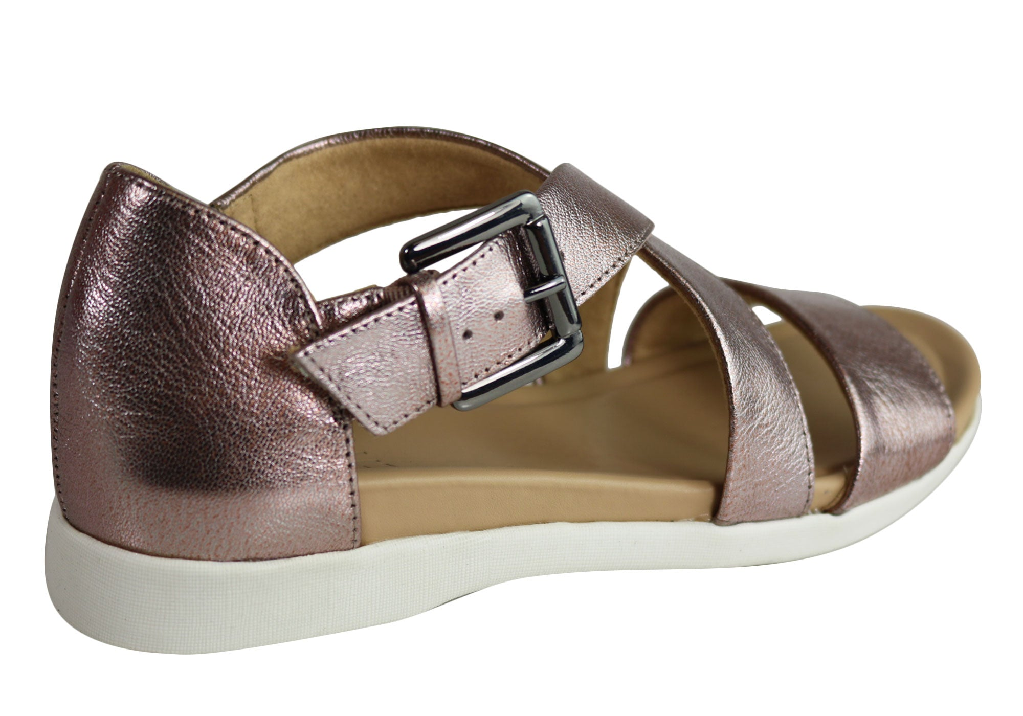 NEW NATURALIZER ELLIOT WOMENS COMFORTABLE CLOSED BACK LEATHER FLAT SANDALS