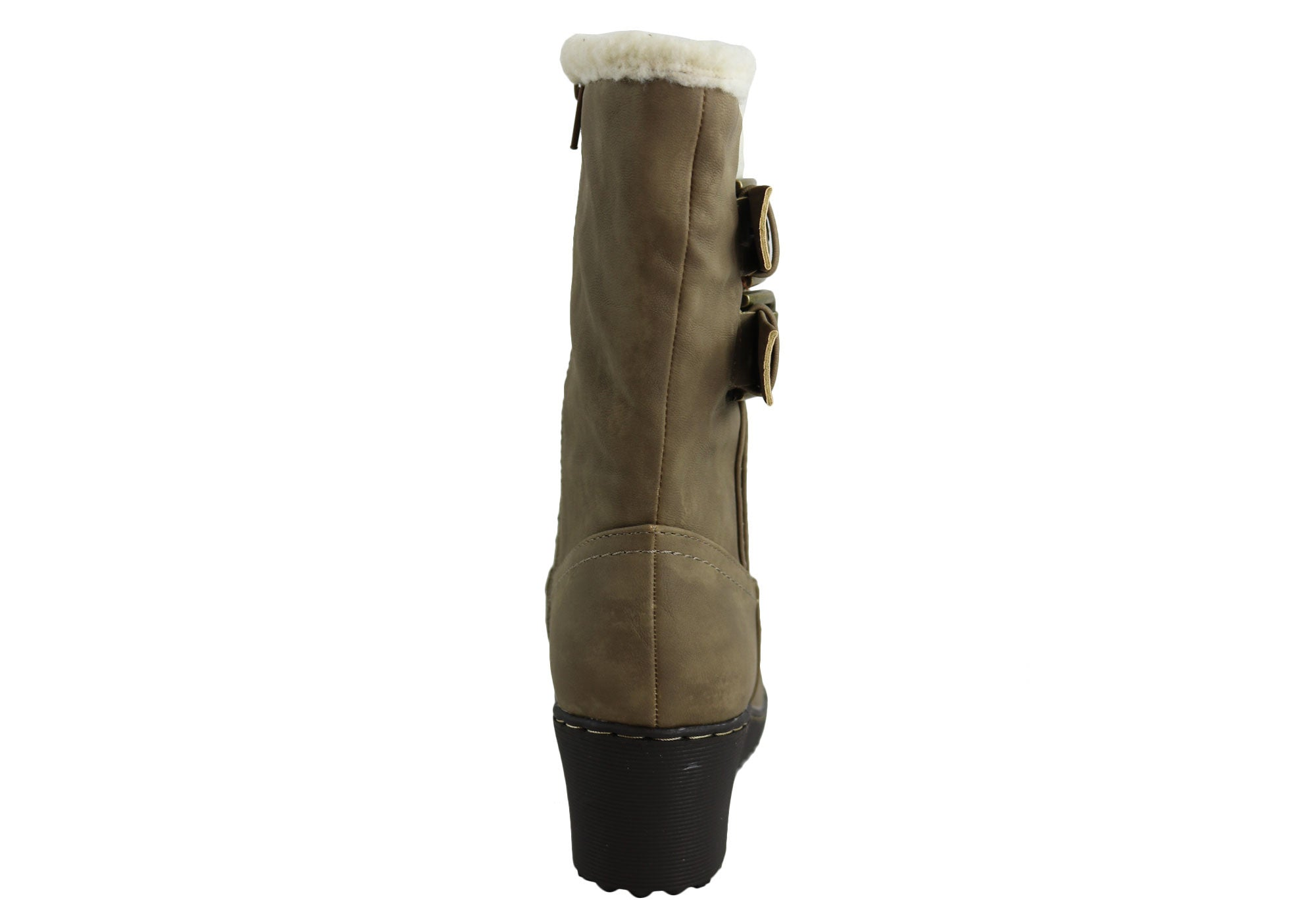Bellissimo Kathleen Womens Fur Lined Wedge Mid Calf Boots