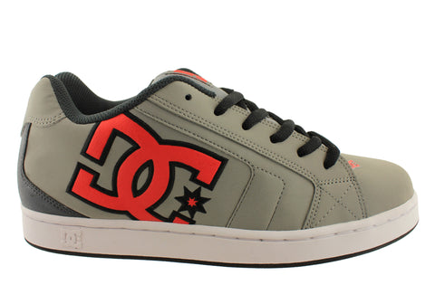 DC Net Grey Red Black Mens Leather Skate Trainers