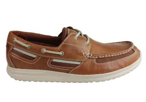 Rockport Mens Langdon 2Eye Moc Ox Leather Comfort Casual Boat Shoes