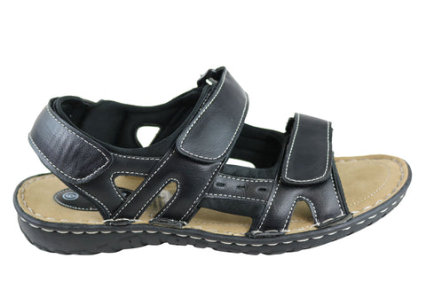 Grosby Justin Mens Comfort Adjustable Strap Sandals
