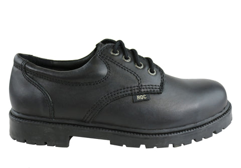 Roc Magnum Senior Lace Up Black Leather Comfortable School Shoes