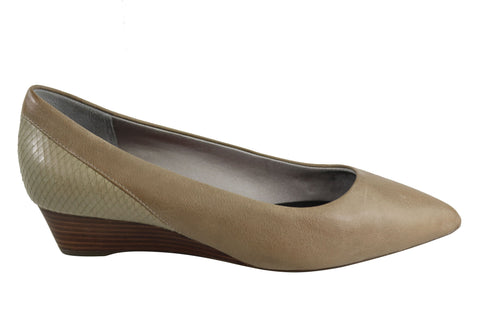 Rockport Total Motion Annett Pieced Pump Womens Leather Wedge Shoes