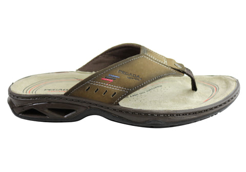 Pegada Coleman Mens Leather Cushioned Thongs Sandals Made In Brazil