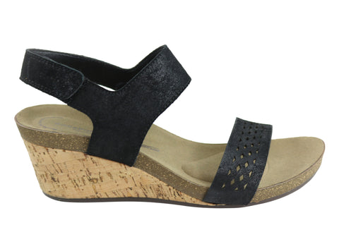 Rockport Taja Perf Qtr Strap Womens Comfortable Leather Wedge Sandals