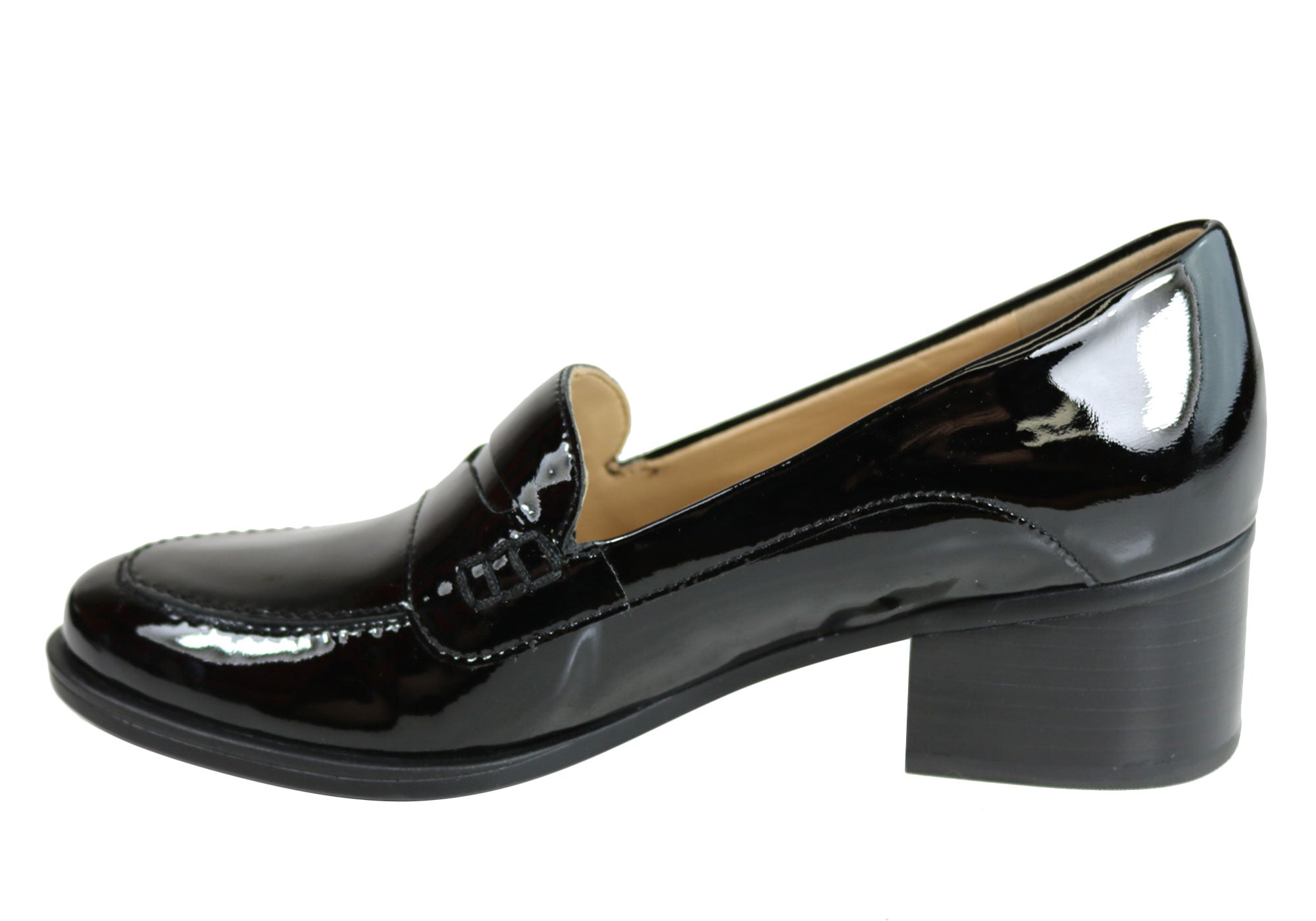 d66cfaa35f7 Home Naturalizer Dinah Womens Mid Heel Patent Leather Loafer Comfort Pumps.  Black Patent  Black Patent ...