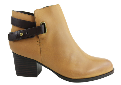 Bonbons Angie Womens Fashion Mid Heel Leather Ankle Boots