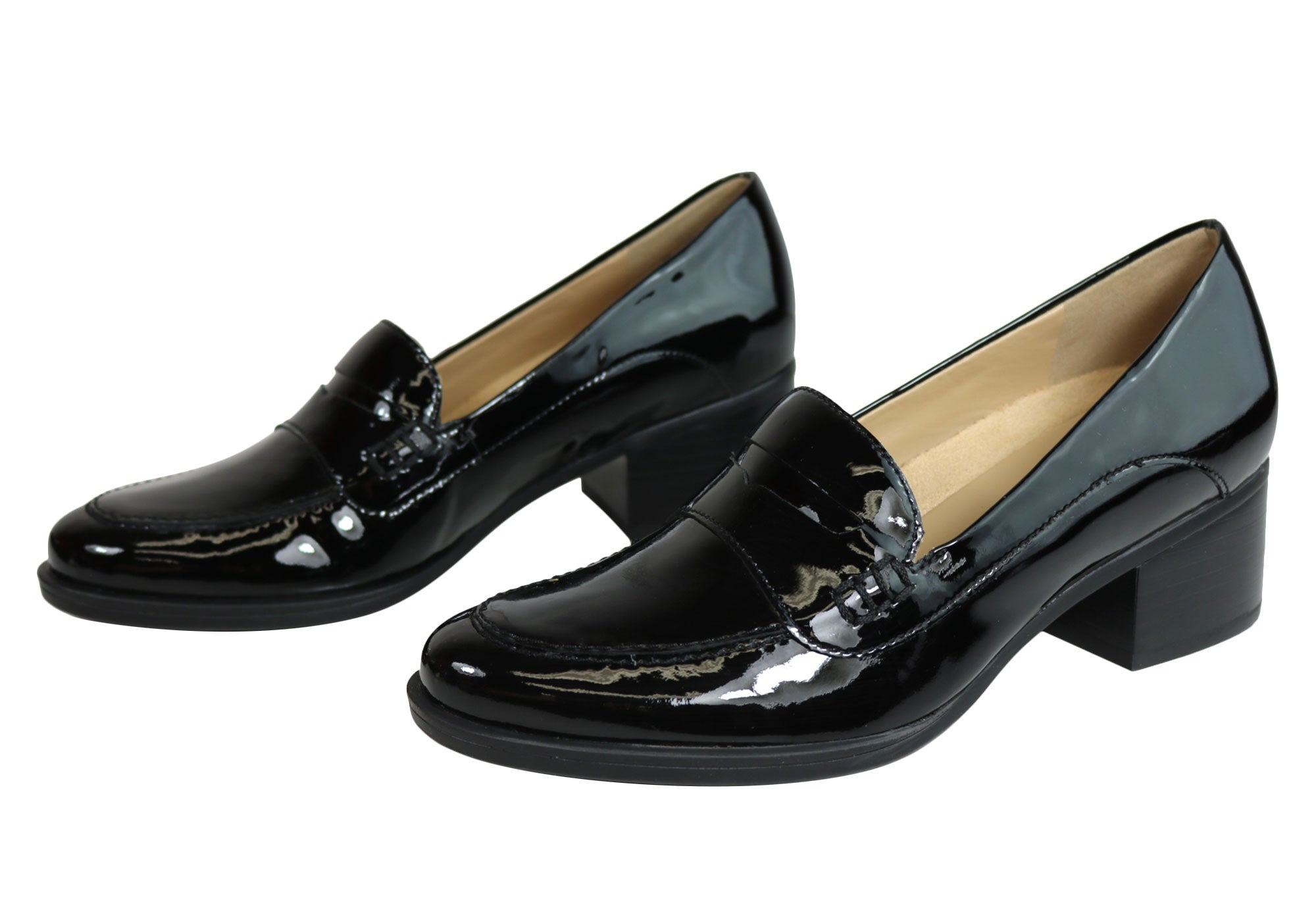 ae207210f2c Home Naturalizer Dinah Womens Mid Heel Patent Leather Loafer Comfort Pumps.  Black Patent  Black Patent  Black Patent  Black Patent  Black Patent  Black  ...