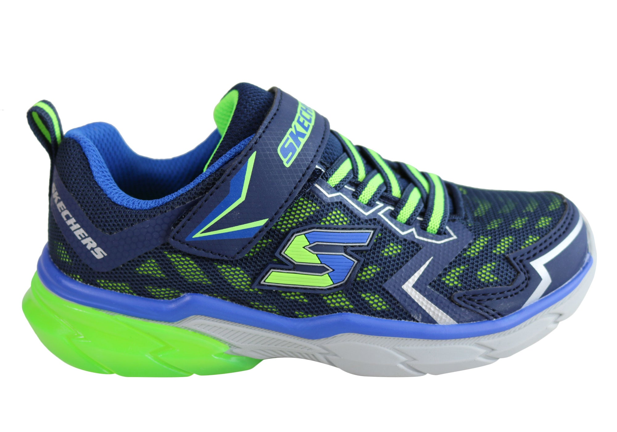 7eab8d27c Home Skechers Older Boys Kids Thermoflux Nano Grid Athletic Shoes.  Navy Lime  Black  ...