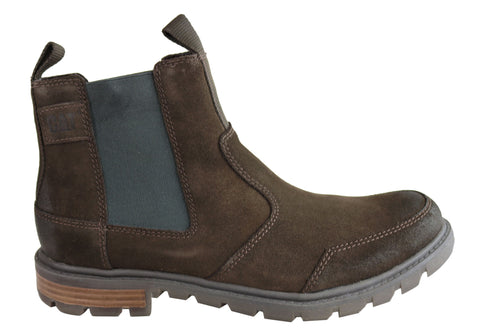 Caterpillar Economist Mens Leather Wide Fit Comfortable Chelsea Boots