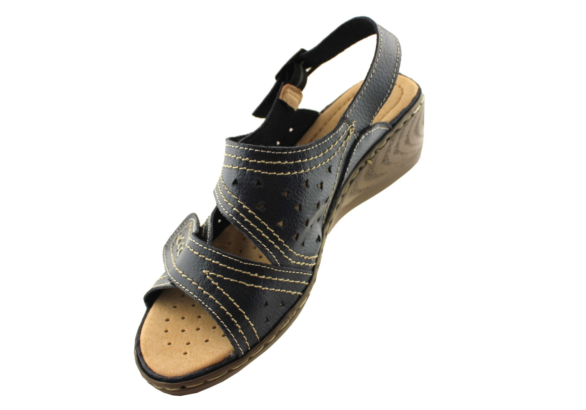 Bellissimo Ruth Womens Leather Adjustable Strap Comfort Sandals