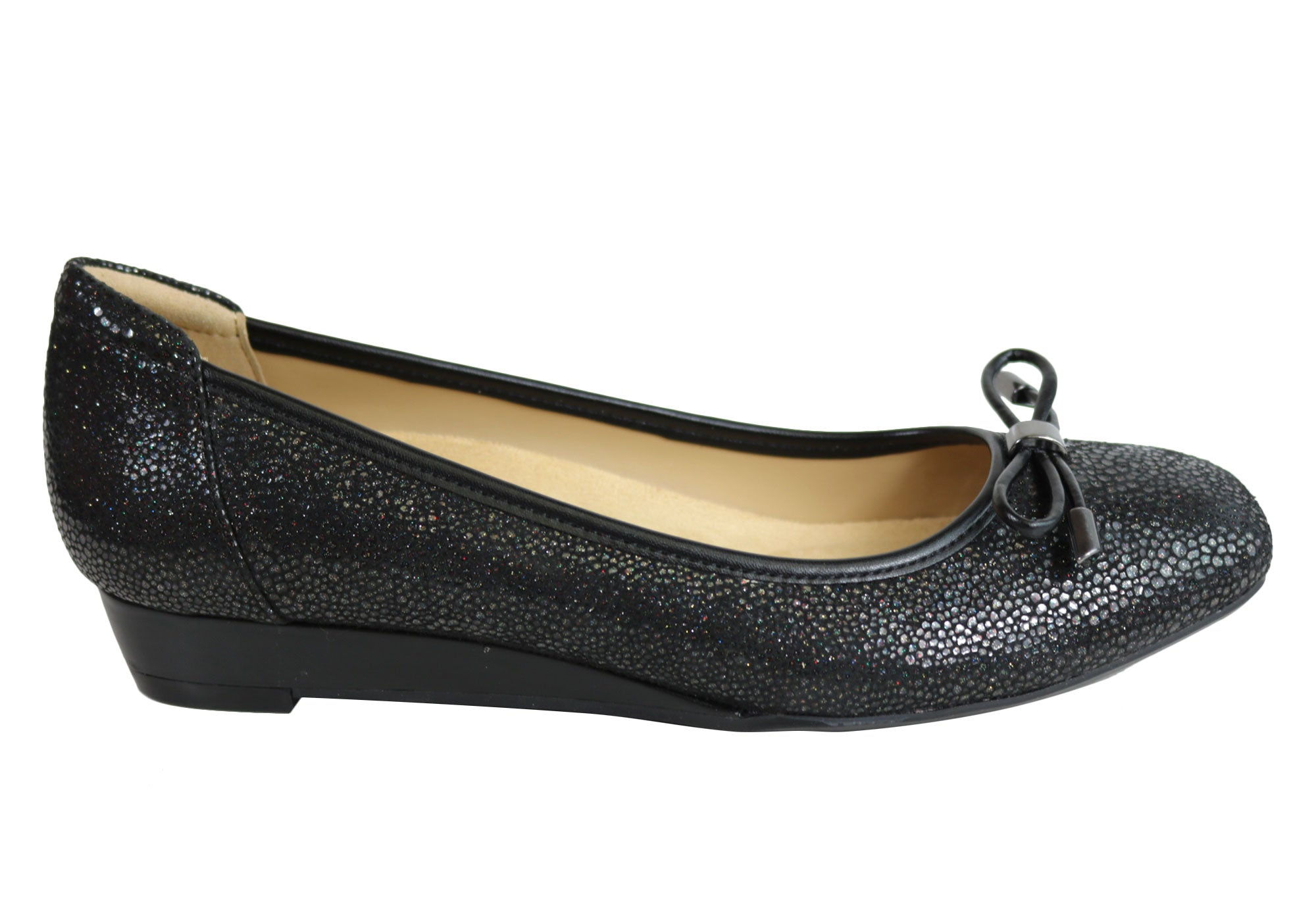 66733c213cc Home Naturalizer Dove Womens Comfortable Leather Wedge Pump Shoes. Black  Pebble ...