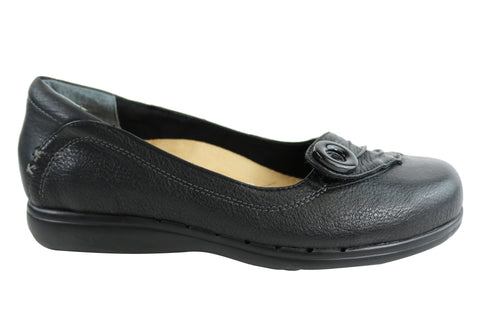 Scholl Orthaheel Prairie Womens Leather Ballet Flat Comfort Shoes