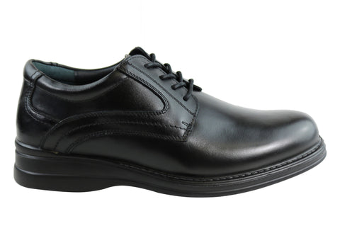 Scholl Orthaheel Benson Mens Black Comfort Lace Up Dress Shoes
