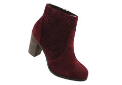 Hush Puppies Inspire Womens Burgundy Suede Ankle Boots
