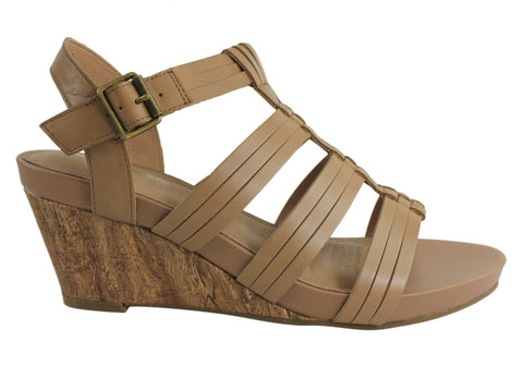 Hush Puppies Xena Womens Leather Wedge Sandals