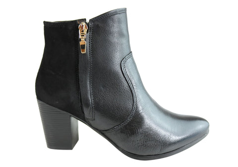 Dazzani Janine Womens Comfort Leather Heel Ankle Boots Made In Brazil