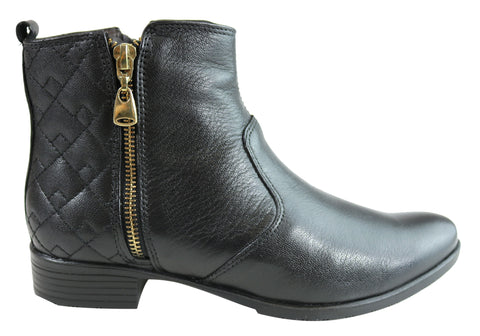 Dazzani Cass Womens Comfortable Leather Ankle Boots Made In Brazil