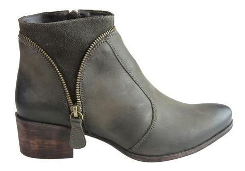 Dazzani Hilda Womens Comfortable Leather Ankle Boots Made In Brazil