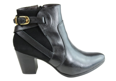 Dazzani Lucie Womens Comfort Leather Heel Ankle Boots Made In Brazil