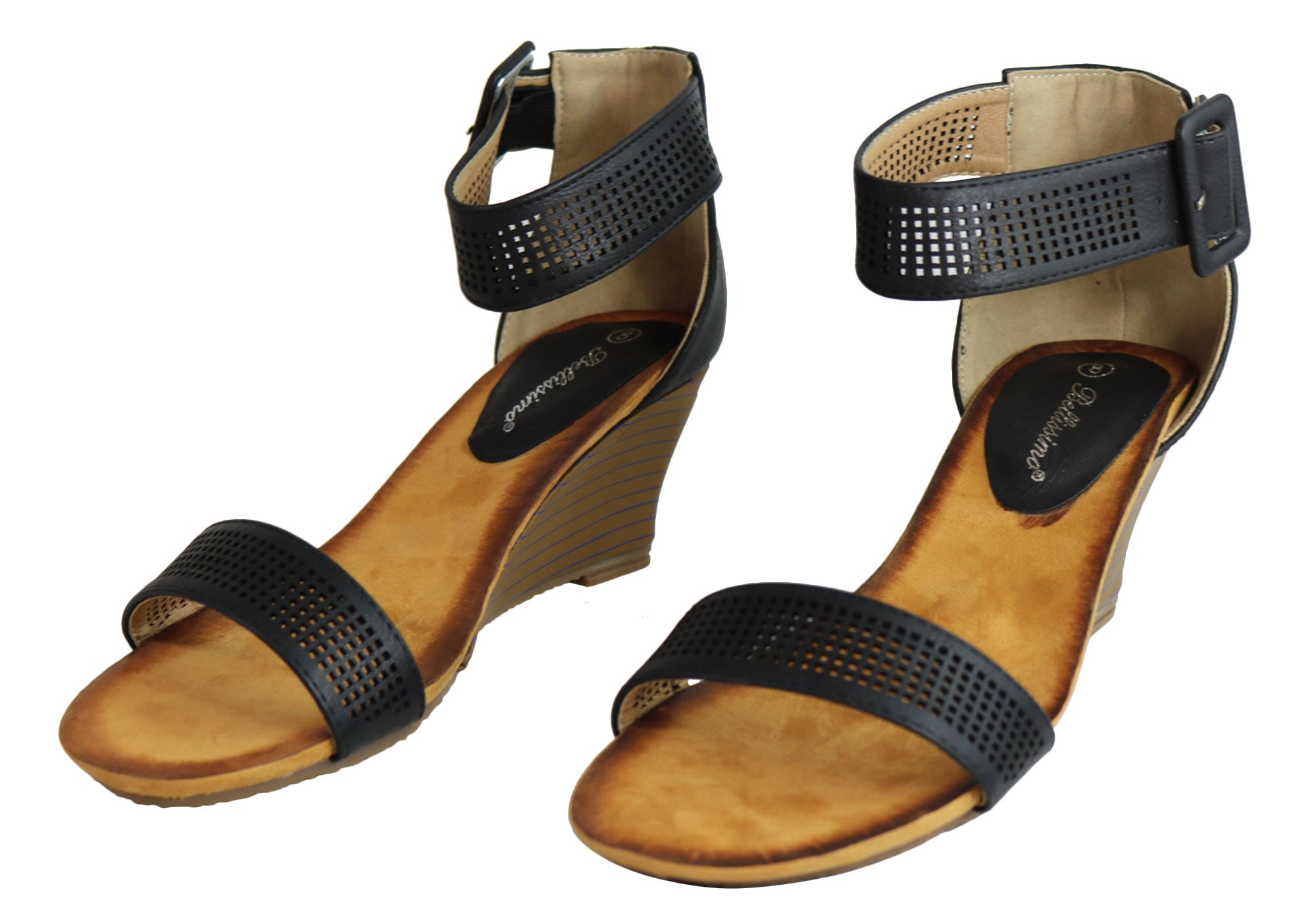 96fc0577efd Home Bellissimo Lava Womens Comfortable Fashion Mid Heel Wedge Sandals.  Black  Tan  Tan  Tan  Tan  Tan  Black  Black  Black  Black ...