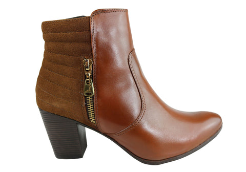 Dazzani Amber Womens Comfort Leather Heel Ankle Boots Made In Brazil