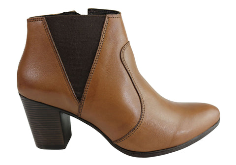 Dazzani Lizette Womens Comfort Leather Heel Ankle Boots Made In Brazil