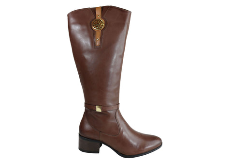 Dazzani Sarah Womens Comfort Leather Knee High Boots Made In Brazil
