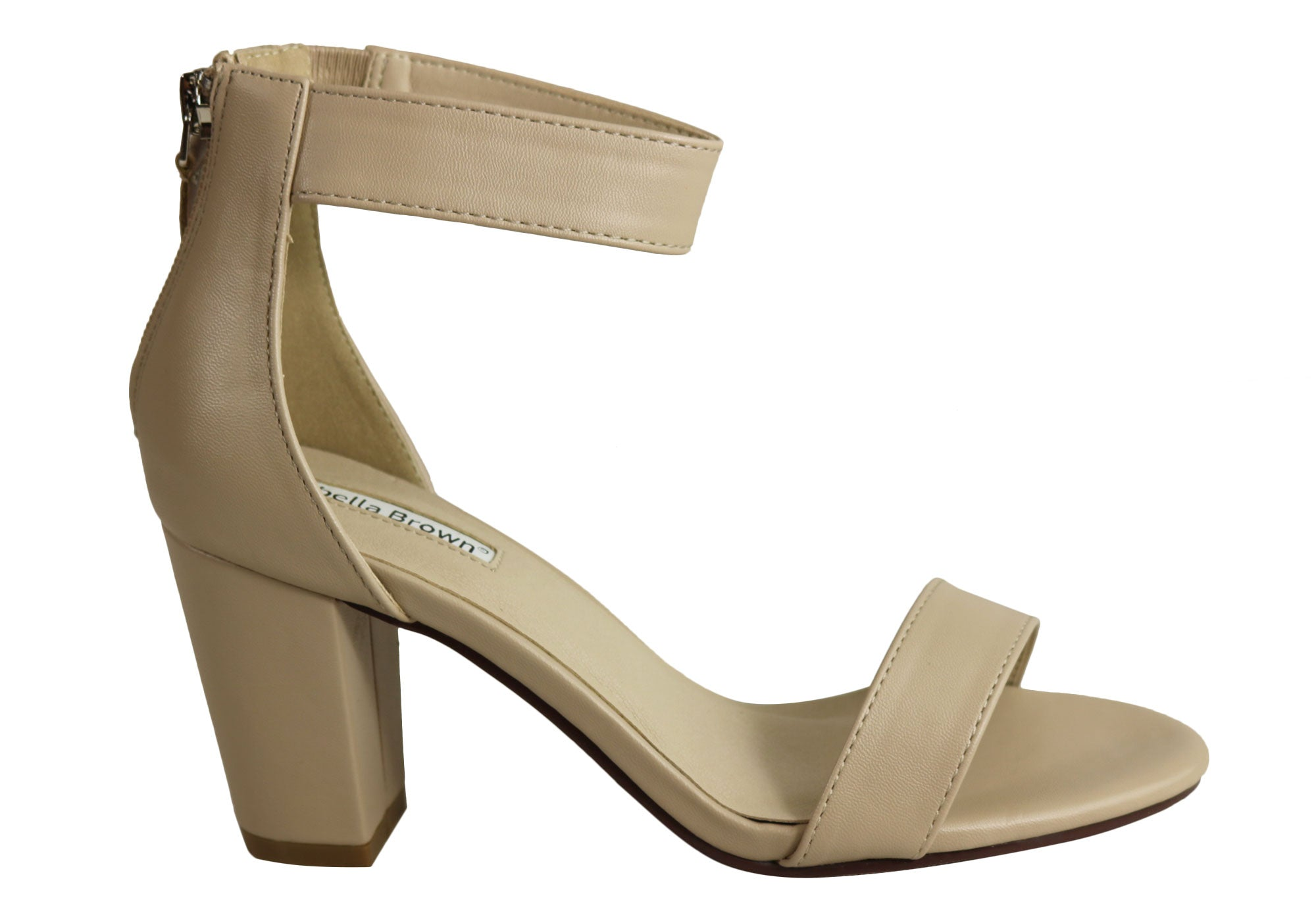 1a6320e27 Home Isabella Brown Cameo Womens Block Heel Fashion Mid Heel Sandals. Nude  ...