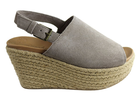 Skechers Womens Comfortable Brit Spring Shot Platform Wedge Sandals