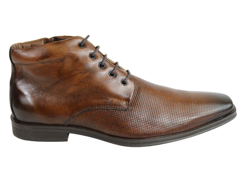 Ferracini Haynes Mens Leather Lace Up Dress Boots Made In Brazil