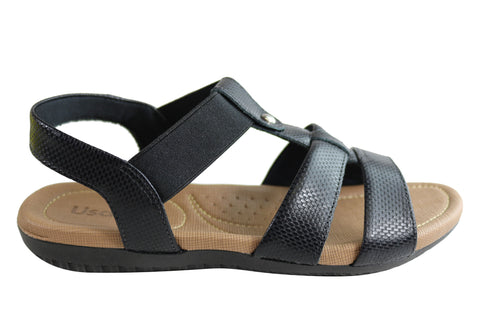 Usaflex Ventura Womens Comfy Cushioned Leather Sandals Made In Brazil