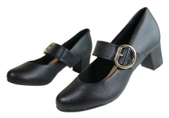 Beira Rio Lorie Womens Comfortable Cushioned Low Block Heel Pumps