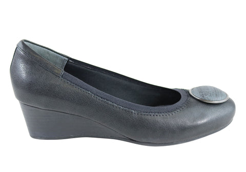 Rockport Womens Total Motion Pump Wide Fit Leather Wedge Shoes