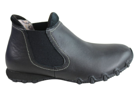 Skechers Womens Relaxed Fit Bikers Undergrad Leather Flat Ankle Boots