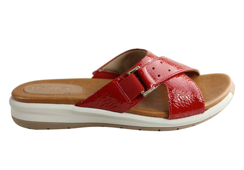 Usaflex Stella Womens Brazilian Comfy Cushioned Leather Slides Sandals