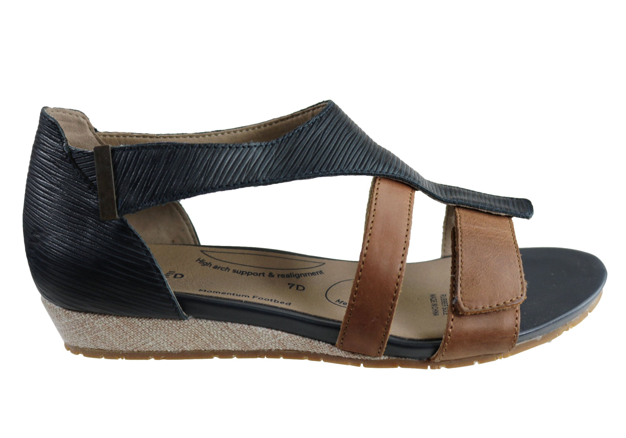 Homyped Faith Womens Supportive Comfortable Wide Fit Low Wedge Sandals