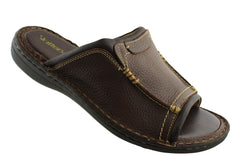 Slatters Nowra Mens Comfortable Leather Slide