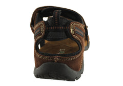 Slatters Broome II Mens Comfort Leather Sandals With Adjustable Straps