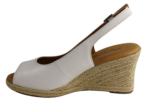 Gino Ventori Foil Womens Leather Wedge Sandals Made In