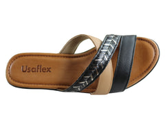 Usaflex Siobhon Womens Comfort Cushioned Wedge Sandals Made In Brazil