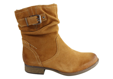 Earth Beaufort Womens Suede Comfort Memory Foam Footbed Ankle Boots