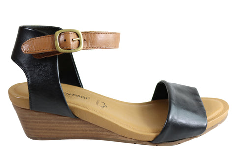 Gino Ventori Replay Womens Leather Wedge Sandals Made In